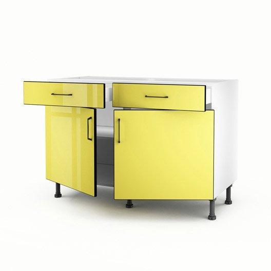 Meuble de cuisine bas jaune 2 portes 2 tiroirs pop for Meuble bas cuisine 120 cm