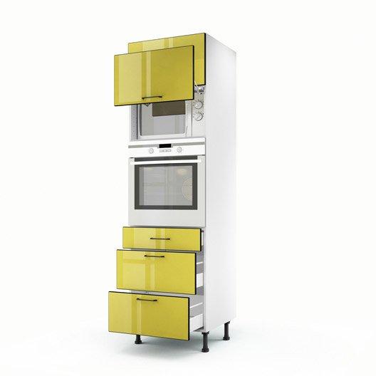 Meuble de cuisine colonne jaune 2 portes 3 tiroirs pop h for Meuble cuisine jaune