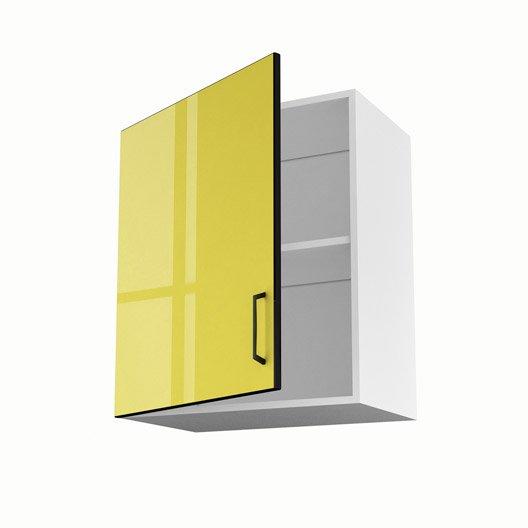 Meuble de cuisine haut jaune 1 porte pop x x p for Porte 60 cm cuisine