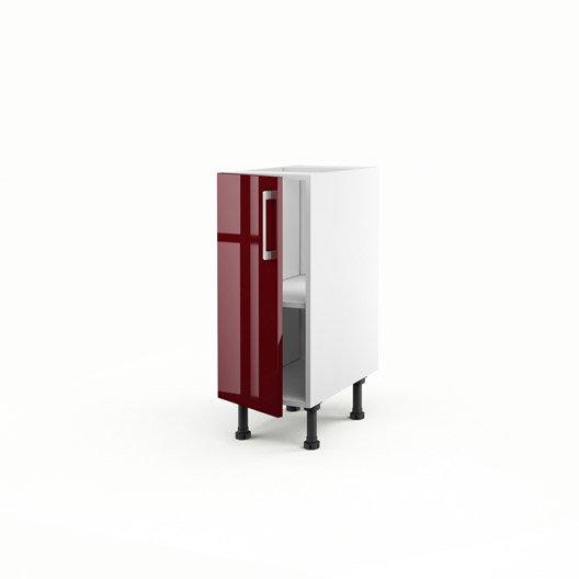 Meuble de cuisine bas rouge 1 porte griotte x x - Meuble bas cuisine profondeur 30 cm ...