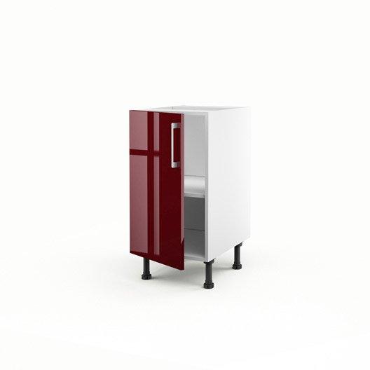 Elegant meuble de cuisine bas rouge porte griotte h x l x - Meuble cuisine 40 cm largeur ...