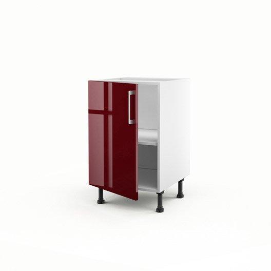 Meuble de cuisine bas rouge 1 porte griotte x x - Meuble bas cuisine profondeur 50 cm ...