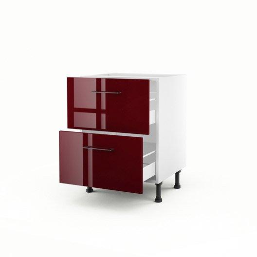 Meuble de cuisine bas rouge 2 tiroirs griotte x for Meuble 70x70