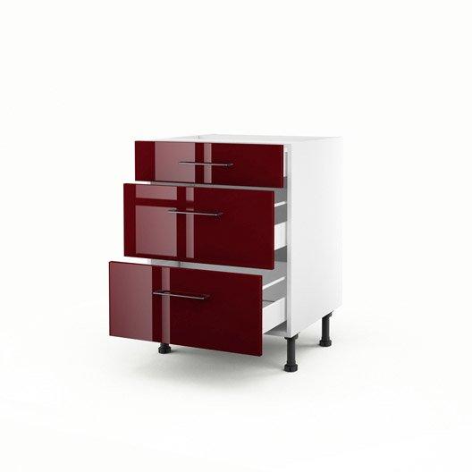 meuble de cuisine bas rouge 3 tiroirs griotte h70xl60xp56. Black Bedroom Furniture Sets. Home Design Ideas