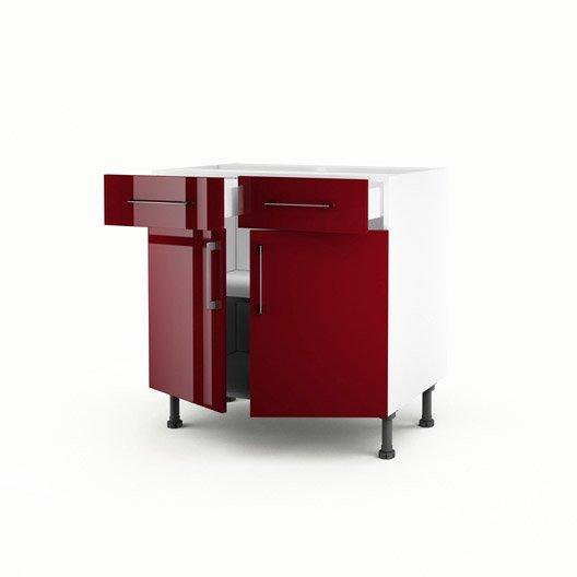 Meuble De Cuisine Bas Rouge 2 Portes 2 Tiroirs Griotte H