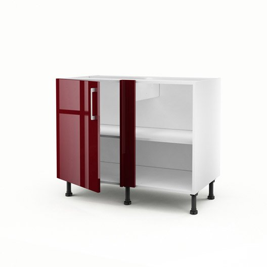 Meuble de cuisine bas d 39 angle rouge 1 porte griotte x for Portes elements cuisine leroy merlin