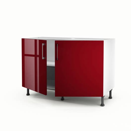 meuble de cuisine sous vier rouge 2 portes griotte x x cm leroy merlin. Black Bedroom Furniture Sets. Home Design Ideas