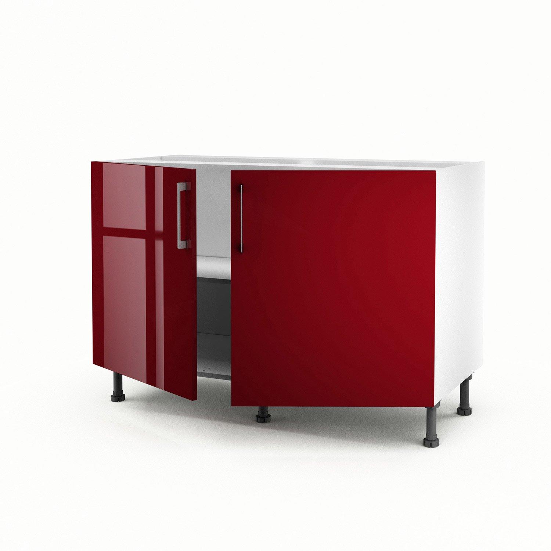 meuble de cuisine sous vier rouge 2 portes griotte h70 x l120 x p56 cm