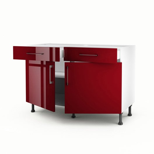 meuble de cuisine bas rouge 2 portes 2 tiroirs griotte h. Black Bedroom Furniture Sets. Home Design Ideas