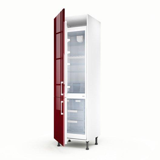 Meuble de cuisine colonne rouge 2 portes griotte x l for Colonne cuisine 30 cm