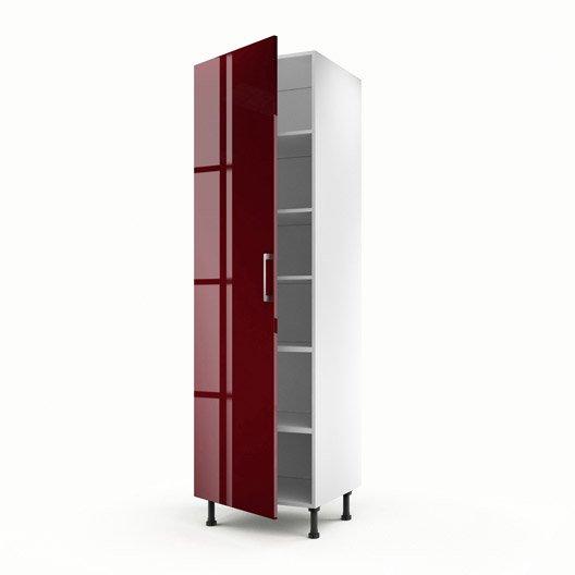 Meuble de cuisine colonne rouge 1 porte griotte x l for Meuble porte rouge