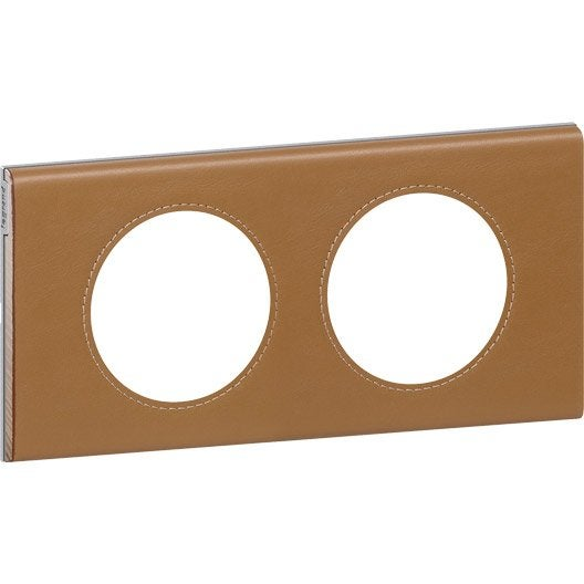 plaque double c liane legrand caramel leroy merlin. Black Bedroom Furniture Sets. Home Design Ideas