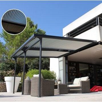 Tonnelle adossée Azura, aluminium gris anthracite, 14 m²