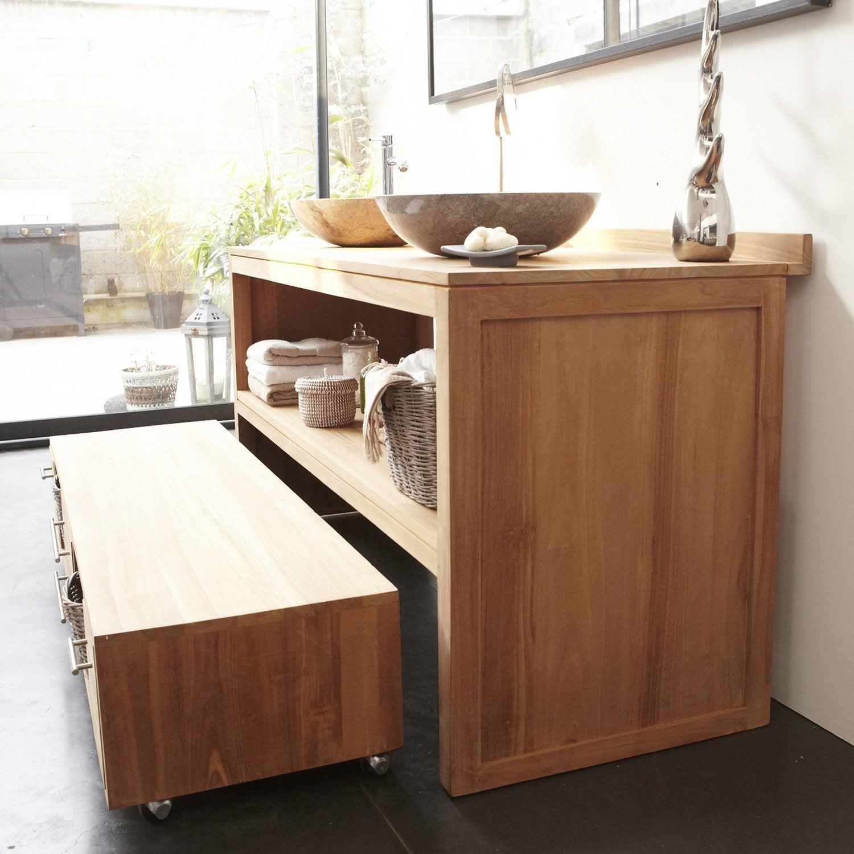 Une vasque à poser gris sur un meuble en bois | Leroy Merlin
