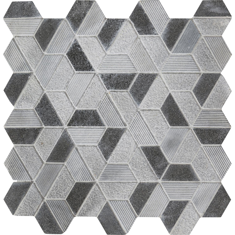 Mosaïque sol et mur Graphik hexa noir 5 x 5 cm