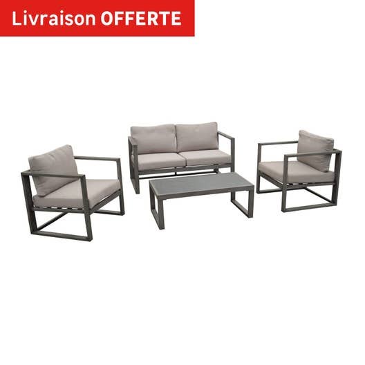 salon bas de jardin antibes aluminium gris 4 personnes leroy merlin. Black Bedroom Furniture Sets. Home Design Ideas