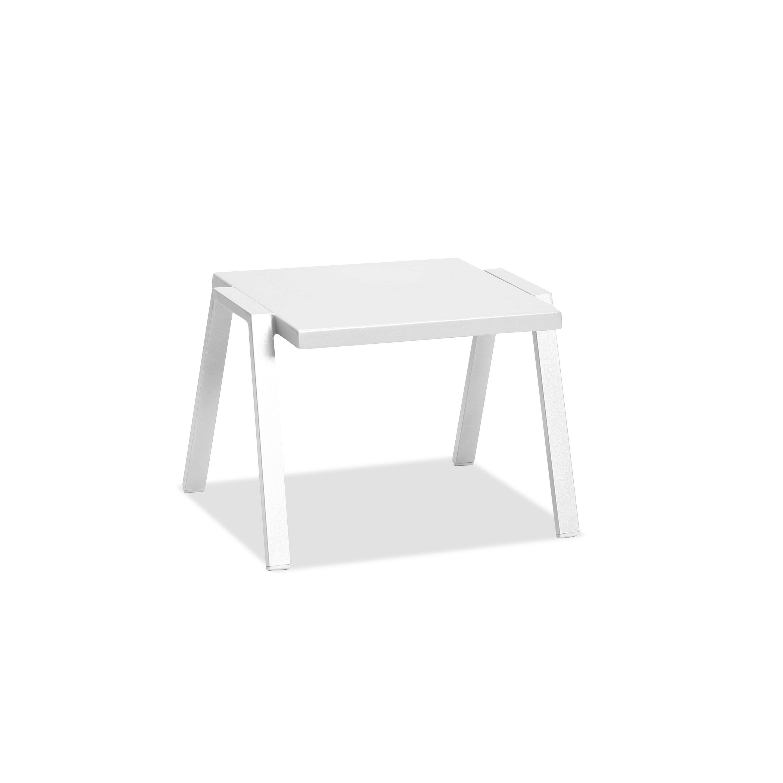 Table de jardin basse Ibiza rectangulaire blanc 2 personnes