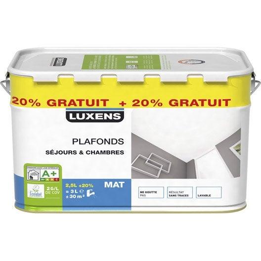Peinture plafond luxens mat 2 5l 20 gratuit leroy merlin - Leroy merlin peinture plafond ...