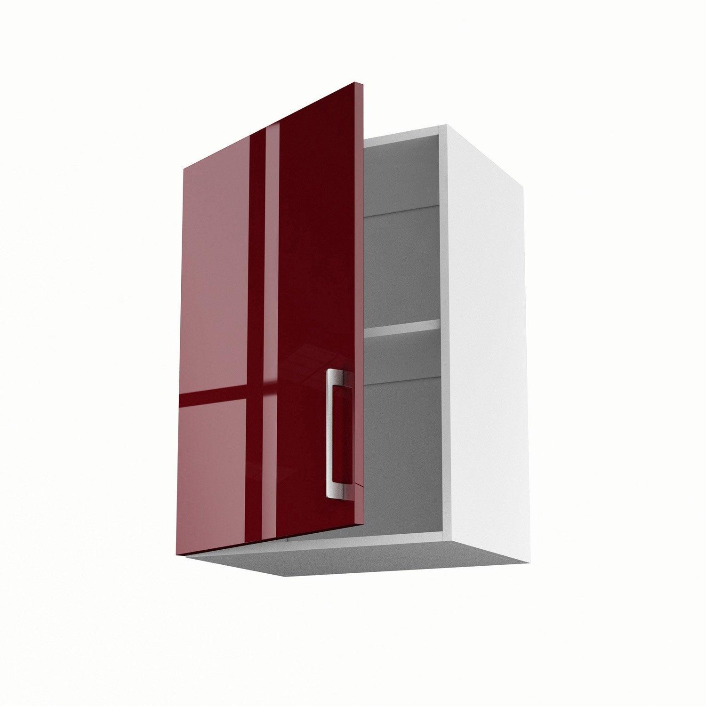 Meuble De Cuisine Haut Rouge 1 Porte Griotte H 70 X L 50 X P 35 Cm  # Meuble Tv Rouge Laque