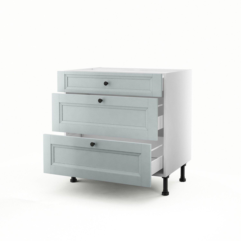 meuble de cuisine bas bleu 3 tiroirs ashford h70 x l80 x p56 cm