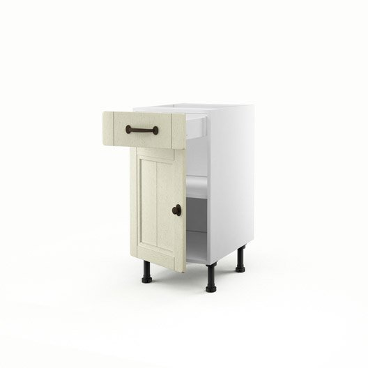 Meuble de cuisine bas beige 1 porte 1 tiroir tradition h for Meuble 70x40