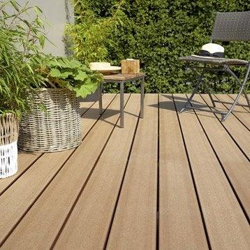 Planche composite Saga natérial, brun, L.240 x l.15 cm x Ep.23 mm