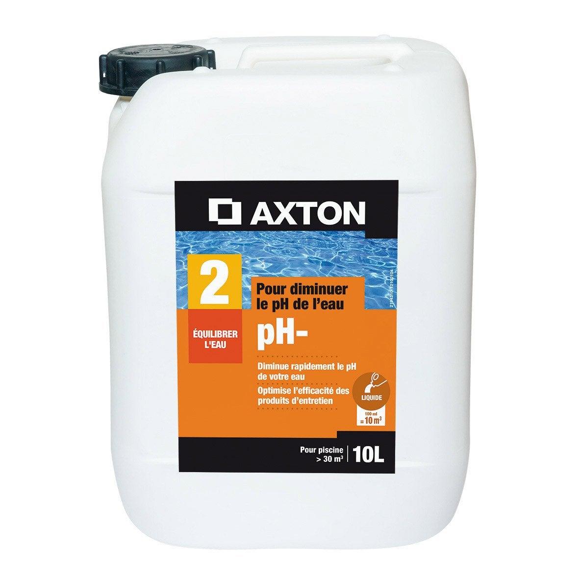 R ducteur de ph piscine axton liquide 10 l 10 kg leroy for Produit pour piscine