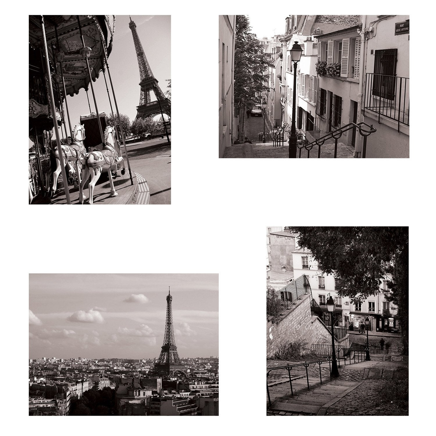 Set de 4 images Paris l.30 x H.40 cm