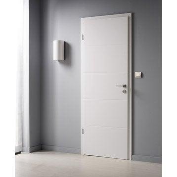 Porte sans bâti  laquée blanc Naples, H.204 x l.73 cm poussant droit