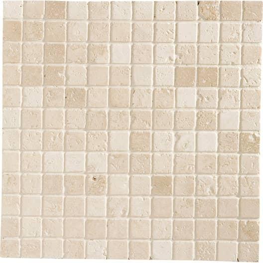 Meuble Salle De Bain Double Vasque Ovale ~ mosa que sol et mur mineral travertin ivoire 2 3 x 2 3 cm leroy merlin