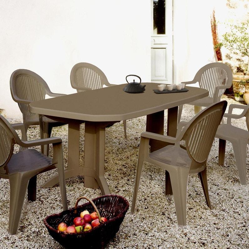 Table De Jardin De Repas Grosfillex Vega Rectangulaire Taupe 12 Personnes Leroy Merlin