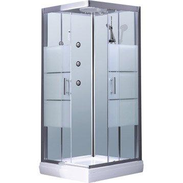 Cabine de douche Optima2 blanche hydromassante mitigeur carré 90x90cm
