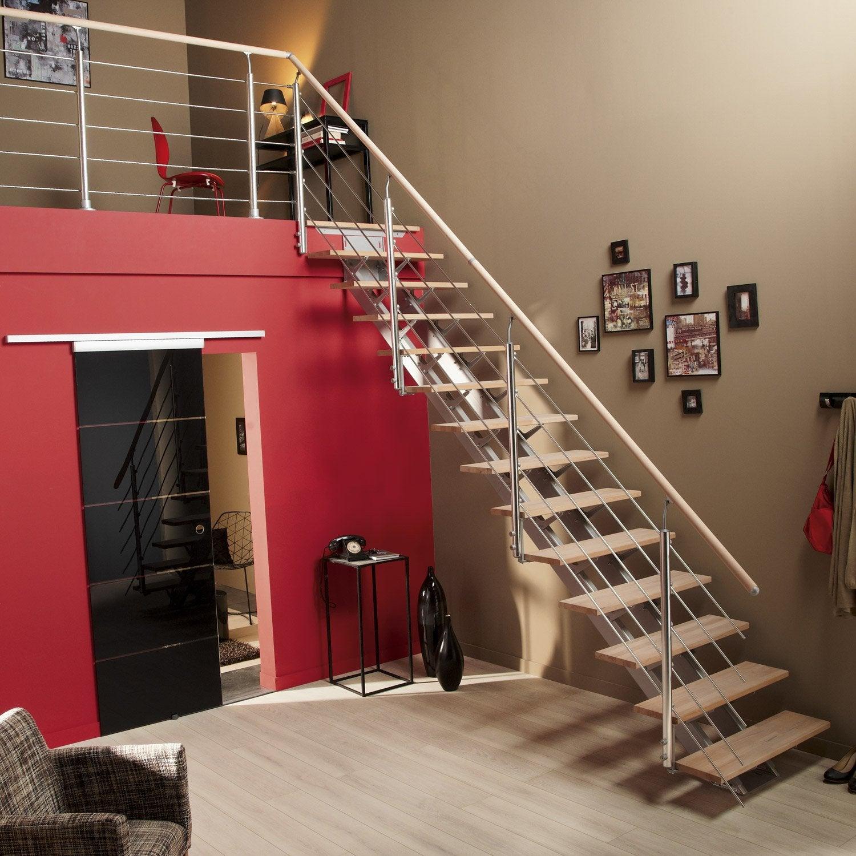 Escalier Droit Sans Rampe tout escalier droit escatwin structure aluminium marche bois | leroy merlin
