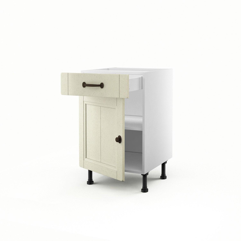 Meuble de cuisine bas beige 1 porte 1 tiroir tradition h for Meuble cuisine 50 x 50