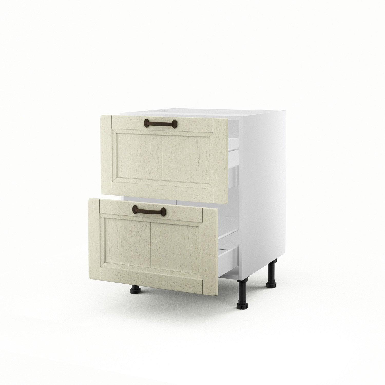 Meuble de cuisine bas beige 2 tiroirs tradition x l for Meuble 70x70