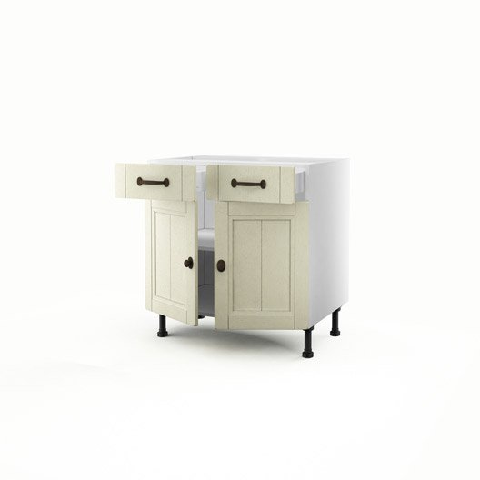 Meuble de cuisine bas beige 2 portes 2 tiroirs tradition for Meuble bas cuisine 2 portes 2 tiroirs