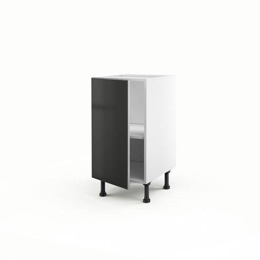 Meuble de cuisine bas gris 1 porte frost x x p for Porte 70 cm largeur