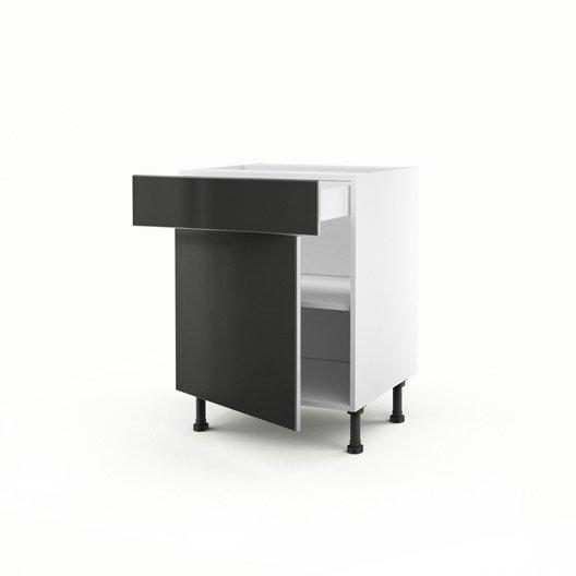 meuble de cuisine bas gris 1 porte 1 tiroir frost x x cm leroy merlin. Black Bedroom Furniture Sets. Home Design Ideas