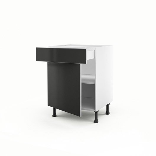 Meuble de cuisine bas gris 1 porte 1 tiroir frost x for Porte cuisine 60 x 40