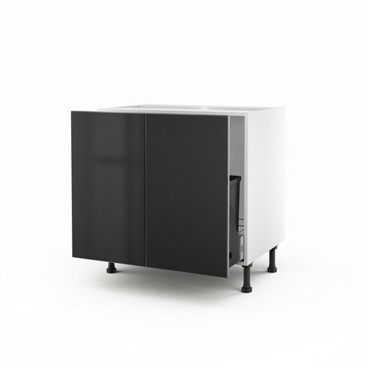 meuble de cuisine sous vier gris 2 portes frost x x cm leroy merlin. Black Bedroom Furniture Sets. Home Design Ideas