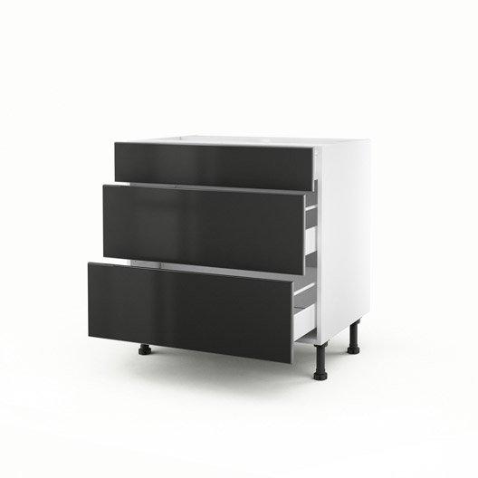 meuble de cuisine bas gris 3 tiroirs frost x x p. Black Bedroom Furniture Sets. Home Design Ideas