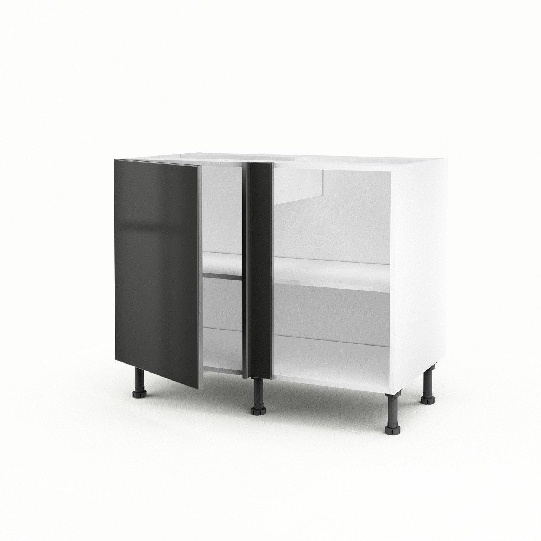 meuble de cuisine bas d 39 angle gris 1 porte frost x x cm leroy merlin. Black Bedroom Furniture Sets. Home Design Ideas