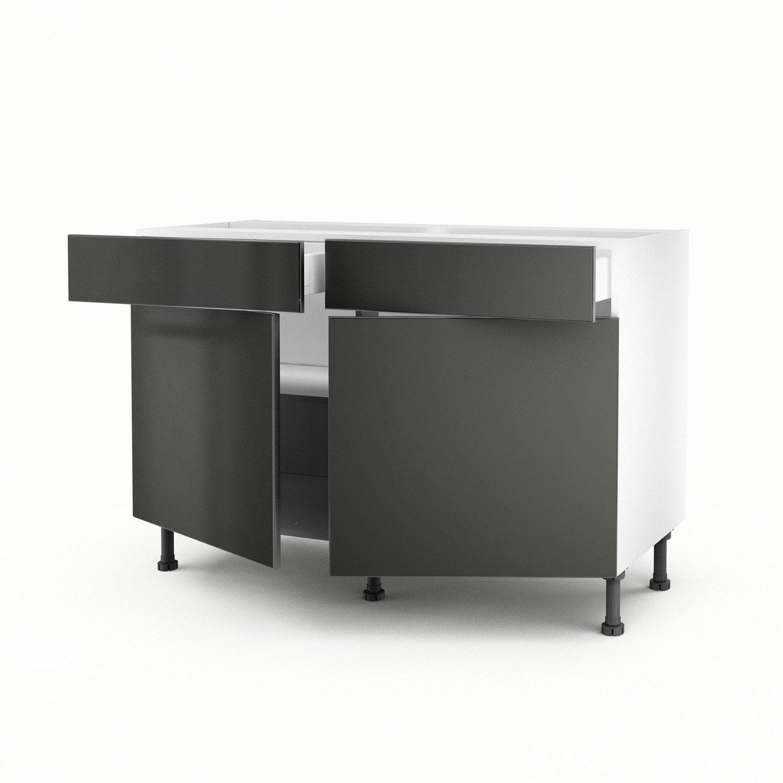 Meuble de cuisine bas gris 2 portes 2 tiroirs frost - Meuble cuisine 3 portes ...