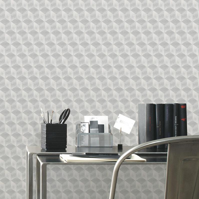 Papier Peint Intisse Square 3d Argent Leroy Merlin