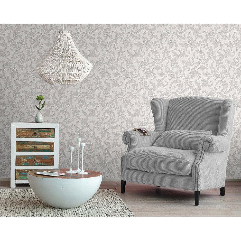 Papier peint papier Medaillon blanc | Leroy Merlin