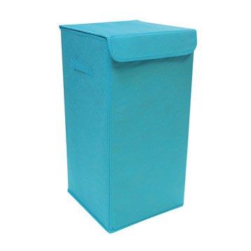 Panier à linge textile Pliable, bleu, l.30 x H.55 x P.30 cm