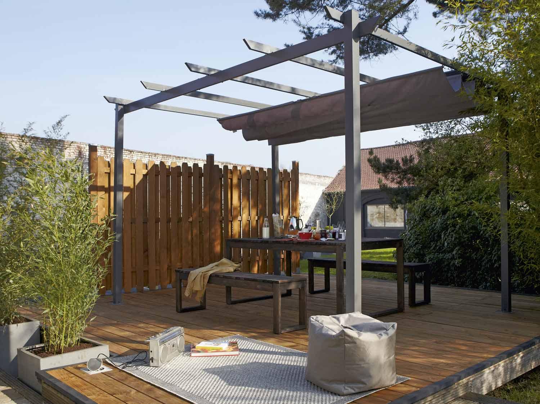 Structure de tonnelle adoss e provence acier marron fonc - Comment monter une tonnelle de jardin ...