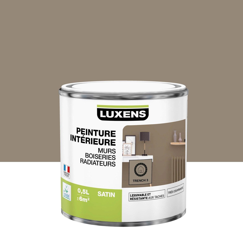Peinture, mur, boiserie, radiateur, Multisupports LUXENS, trench 3, satin, 0.5 l