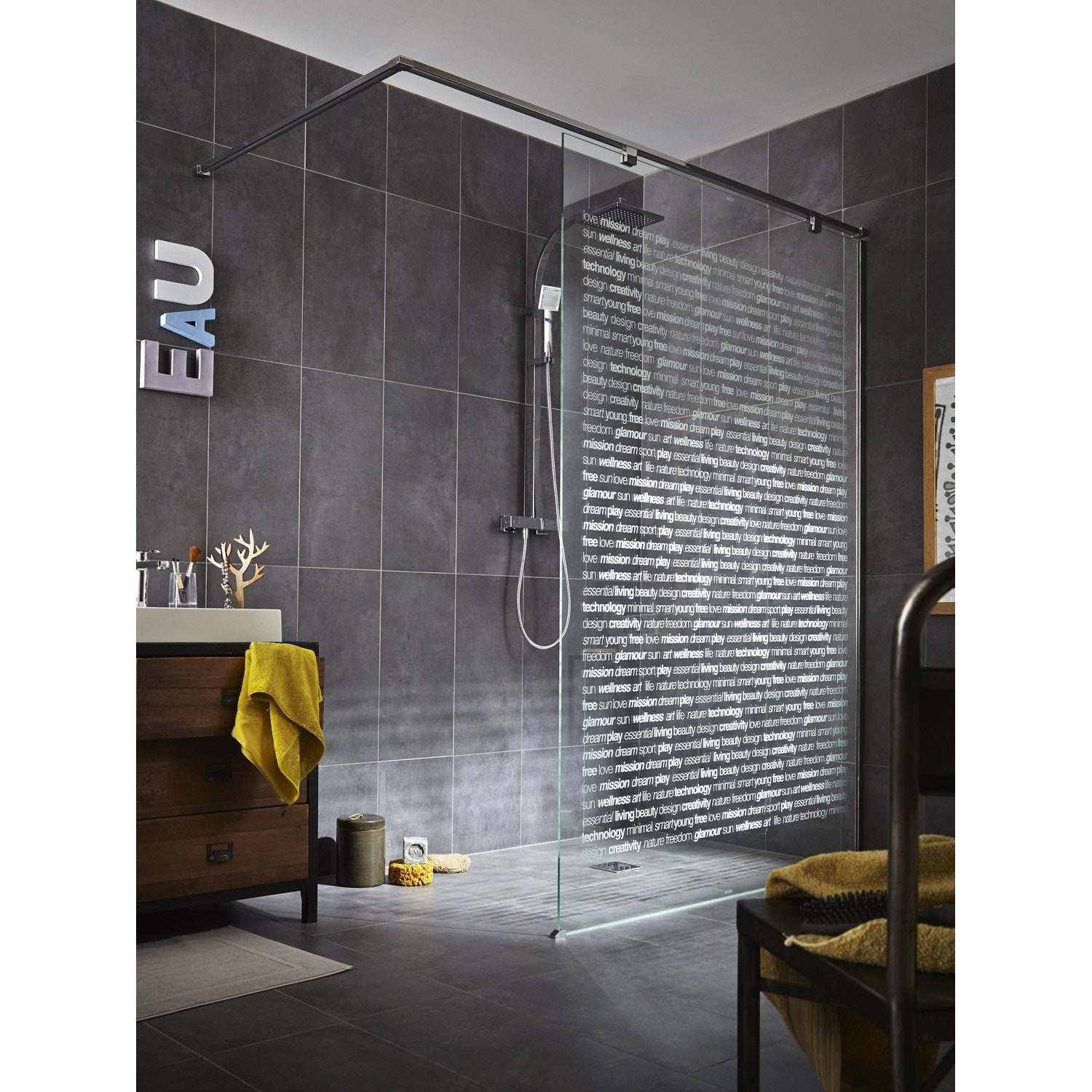 paroi de douche l 39 italienne cm verre s rigraphi 8 mm eliseo leroy merlin. Black Bedroom Furniture Sets. Home Design Ideas