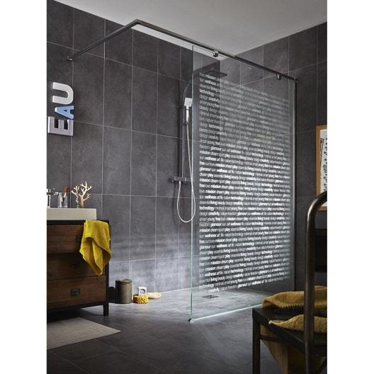 paroi de douche a l'italienne l.140 cm verre serigraphie 8 mm eliseo